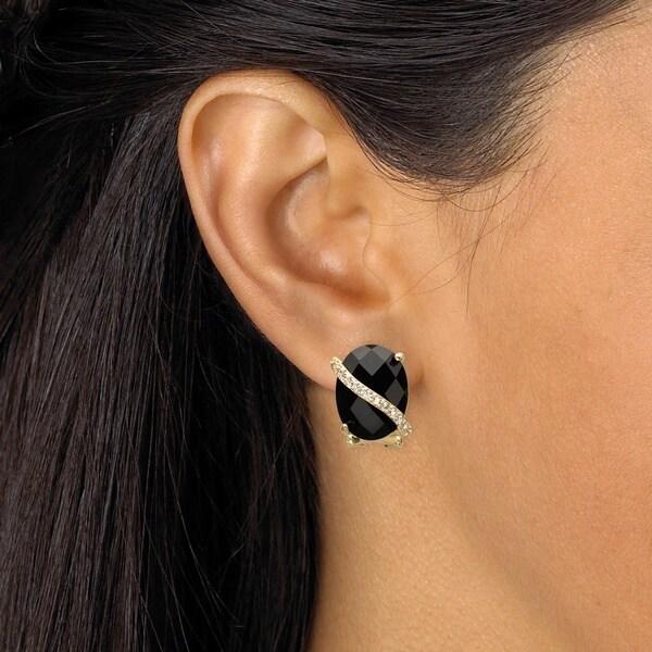 14k White Gold 3 Vertical Scallops Clip-On Earrings