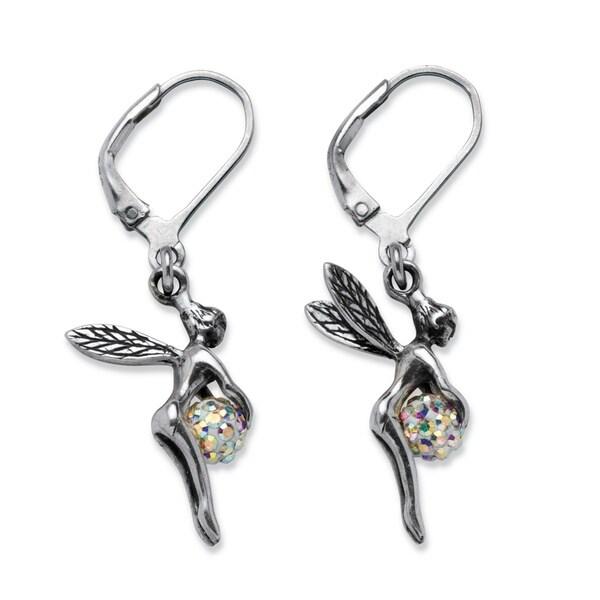 d7f3a2b51 Sterling Silver Aurora Borealis Crystal Ball Pixie Drop Earrings