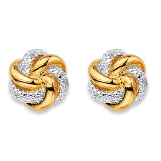 18k Gold over Silver White Diamond Accent Two-tone Pave-style Love Knot Button Earrings