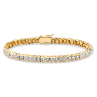 18k Gold over Silver White Diamond Accent Two-tone Box Link Tennis Bracelet
