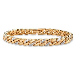 18k Yellow Gold over Silver Pave Diamond Accent Curb Link Bracelet