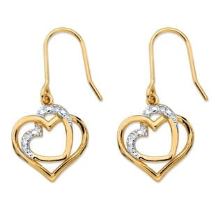 PalmBeach 14k Gold over Silver White Diamond Accent Pave-style Intertwined Double Heart Drop Earrings