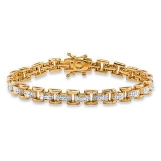 18k Goldplated 1/10ct TDW Pave-set Diamond Link Bracelet