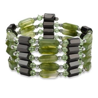 Women's Magnetically Adjustable Green Lucite/Hematite Hexagonal Beaded Jewelry