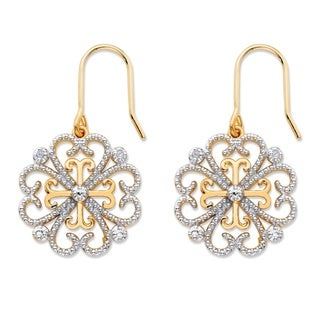 14k Gold-Plated White Diamond Accent Two-Tone Floral Heart Drop Earrings