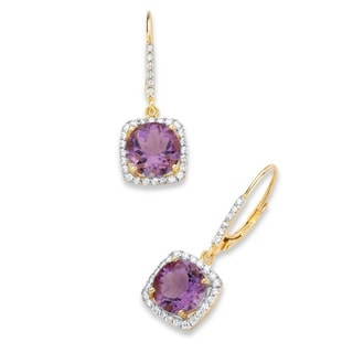 PalmBeach 14k Yellow Gold over Silver 6 1/10ct TGW Purple Amethyst and Cubic Zirconia Halo Drop Earrings