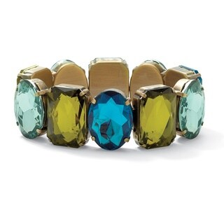 Antiqued Goldplated Mixed-Cut Aqua, Blue, and Green Crystal Bracelet
