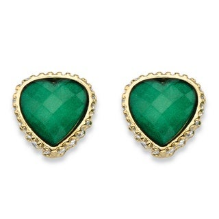 Palm Beach Jewelry Women's Checkerboard-cut Green and White Crystal Goltone Heart-shaped Stud Earrings