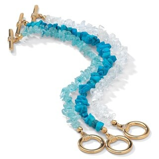 Yellow Gold Tone 3 Piece Set Turquoise Topaz and Quartz Bracelets