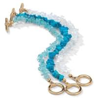Yellow Gold Tone 3 Piece Set Turquoise Topaz and Quartz Bracelets