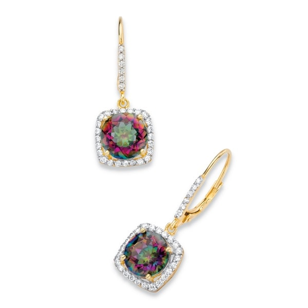 14k Yellow Gold over Silver 8 1/6ct TGW Mystic Fire Quartz and Cubic Zirconia Halo Drop Ea. Opens flyout.