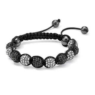 Nylon Round Black and White Crystal Glass Ball Macrame Rope Tranquility Bracelet