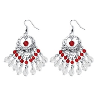 Color Fun Silvertone Red Crystal Chandelier Earrings