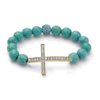 Yellow Gold Overlay Turquoise and Crystal Horizontal Cross Stretch Bracelet