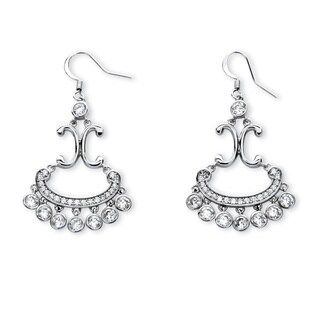 Platinum over Silver 4 1/4ct TGW Round Cubic Zirconia Chandelier Earrings