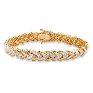 18k Gold over Silver Diamond Accent Pave-style Laurel Leaf Bracelet