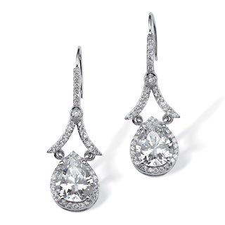 PalmBeach Platinum over Silver 5 5/8ct TGW Pear-cut Cubic Zirconia Halo Drop Earrings