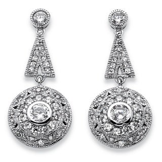 PalmBeach Platinum over Silver 2 1/3ct TGW Cubic Zirconia Geometric Vintage-style Drop Earrings