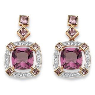 PalmBeach Rose Gold over Silver 2/5ct TGW Cushion-cut Simulated Amethyst and Cubic Zirconia Halo Earrings