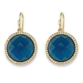 PalmBeach 14k Gold over Silver 2/5ct TGW Checkerboard London Blue Sapphire and Cubic Zirconia Halo Earrings