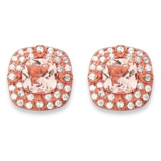 Rose Gold over Silver 1/2ct TGW Pink Morganite and Cubic Zirconia Double Halo Stud Earring