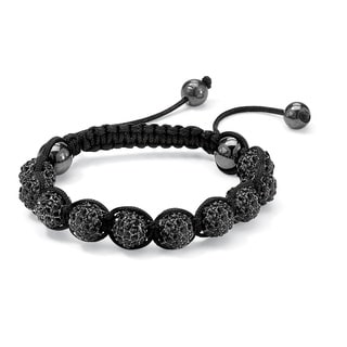 Black Macrame Rope Round Black Crystal and Glass Ball Tranquility Bracelet