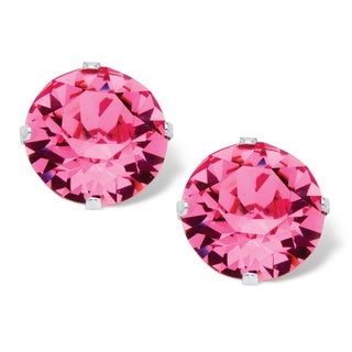 Sterling Silver Round Pink Crystal Stud Earrings