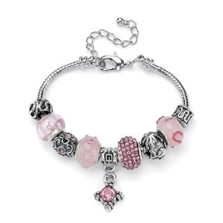 Round Silvertone Pink Crystal Bali-Style Beaded Charm and Spacer Bracelet