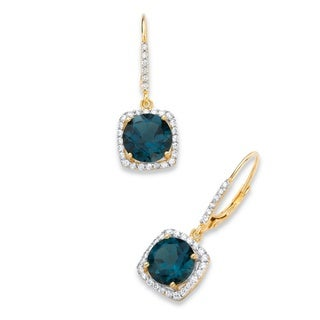 PalmBeach 14k Yellow Gold over Silver 8 1/6ct TGW London Blue Topaz and Cubic Zirconia Halo Drop Earrings