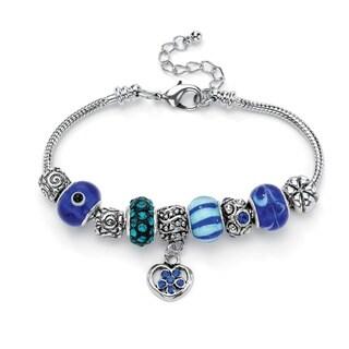 Women's Bali-style Blue/Silvertone Crystal Half-beaded Charm Bracelet
