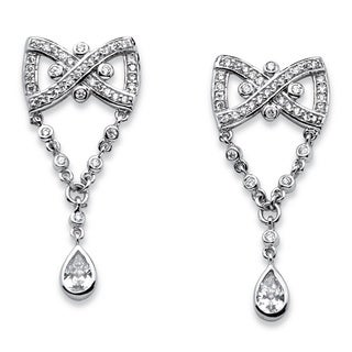 Platinum over Silver 1 5/8ct TGW Pear Drop Cubic Zirconia Vintage-style Bow Tie Earrings