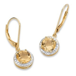 PalmBeach 14k Gold over Silver 2 5/8ct TGW Genuine Yellow Citrine and Diamond Accent Pave-style Halo Drop Earrings