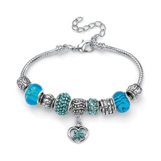 Silvertone Aqua Crystal 8-inch Bali-style Beaded Charm Bracelet