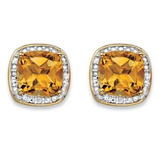 PalmBeach 14k Gold-over Silver 2 5/8ct TGW Yellow Citrine and Diamond Accent Halo Stud Earrings