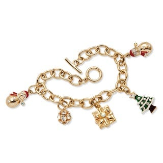 Palm Beach Color Fun Yellow Gold Enamel and Crystal Christmas Charm Bracelet
