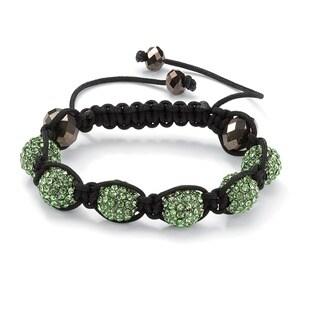 Green Crystal Beaded Macrame Adjustable Bracelet