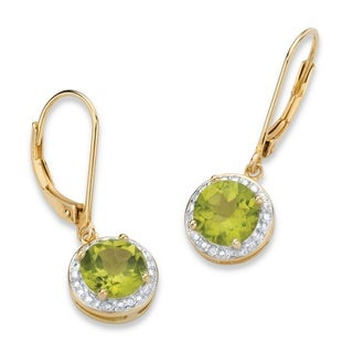 PalmBeach 14k Gold over Silver 2 1/2ct TGW Green Peridot and Diamond Accent Pave-style Halo Drop Earrings