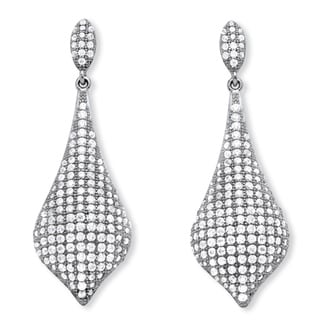 Sterling Silver 4 3/4ct TGW Micro Pave Cubic Zirconia Drop Earrings