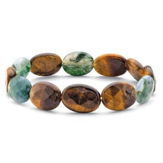 Genuine Brown Tiger's Eye and Green Jasper Stretch Bracelet