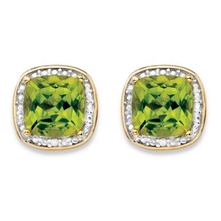 PalmBeach 14k Gold over Silver 2 7/8ct TGW Genuine Yellow Peridot and Diamond Accent Pave-style Halo Stud Earrings