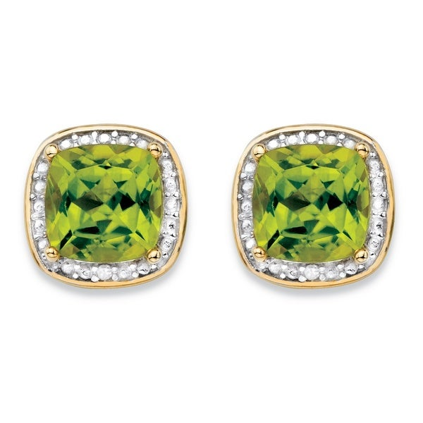 14k Gold over Silver 2 7/8ct TGW Genuine Yellow Peridot and Diamond Accent Pave-style Halo