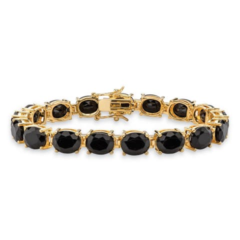 """Yellow Gold-Plated Tennis Bracelet (8mm), Oval Cut Natural Black Onyx, 7.5"""""""