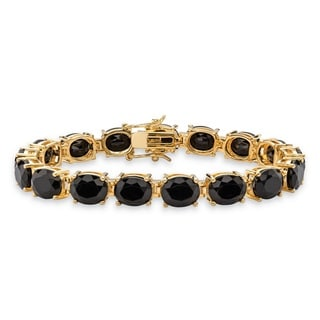 14k Gold-Plated Oval-Cut Genuine Faceted Black Onyx Tennis Bracelet