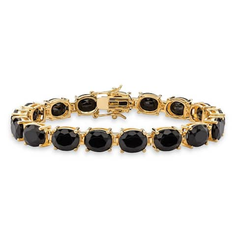 Yellow Gold-Plated Tennis Bracelet (8mm), Oval Cut Natural Black Onyx, 7.5""
