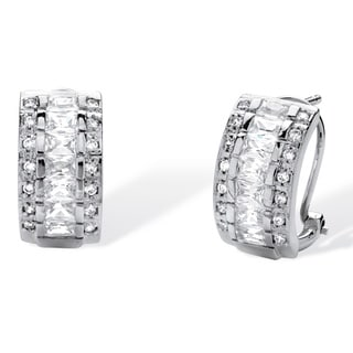PalmBeach Sterling Silver 4 1/5ct TGW Emerald-cut Cubic Zirconia Triple-Row Semi-Hoop Earrings