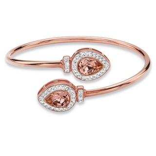 Rose Gold over Silver Pear-cut Rose Crystal Expandable Bangle Bracelet
