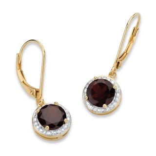 PalmBeach 14k Gold over Silver 3 1/5ct TGW Red Garnet and Diamond Accent Pave-style Halo Drop Earrings