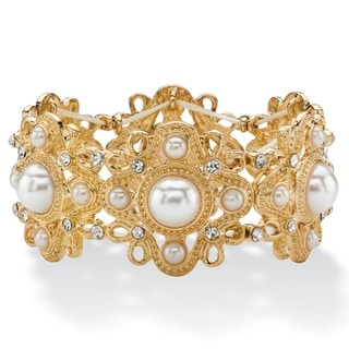 PalmBeach Gold-tone Simulated Pearl and Crystal Vintage-style Floral Motif Stretch Bracelet