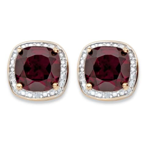 14k Gold Overlay 3 1/5ct Genuine Red Garnet and Diamond Accent Halo Stud Earrings
