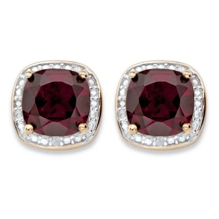 PalmBeach 14k Gold Overlay 3 1/5ct Genuine Red Garnet and Diamond Accent Halo Stud Earrings